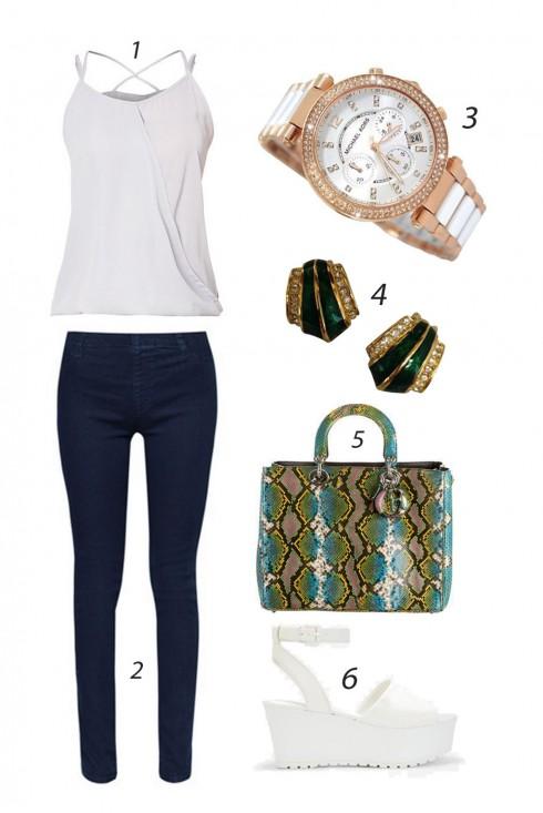 Thứ tư thoải mái với áo dây và quần jeans xanh ôm đơn giản, nhưng nhấn nhá phụ kiện bắt mắt sang trọng. <br/><br/> 1. SOMETHING BORROWED 2. CATWALK88 3. MICHAEL KORS 4. DIOR 5. DIOR 6. CHARLES & KEITH<br/>ELLE Style Calendar (06/04 – 12/04) – Cách phối đồ Jeans năng động