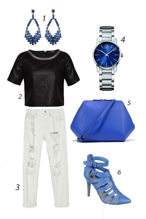 Thứ sáu phủi bụi với quần jeans trắng xé rách phong cách và phụ kiện tông xanh. <br/><br/> 1. LORD & TAYLOR 2. ZALORA 3. ZARA 4. CK 5. CHARLES & KEITH 6. SHIEKH SHOES<br/>ELLE Style Calendar (06/04 – 12/04) – Cách phối đồ Jeans năng động