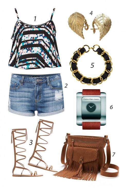Chủ nhật thả dáng với quần shorts, áo hai dây họa tiết phá cách và dày buộc dây cá tính. <br/><br/> 1. MATERIAL GIRL 2. INNER CIRCLE 3. ZARA 4. DIOR 5. CHANEL NECKLACE 6. CALVIN KLEIN 7. MUDD<br/>ELLE Style Calendar (06/04 – 12/04) – Cách phối đồ Jeans năng động