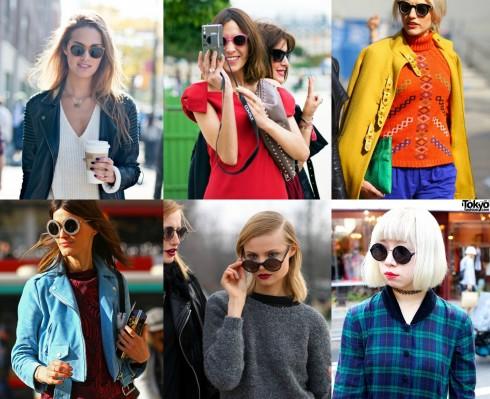 Mắt kính thời trang dáng tròn xuất hiện tràn ngập trên sàn diễn thời trang đường phố