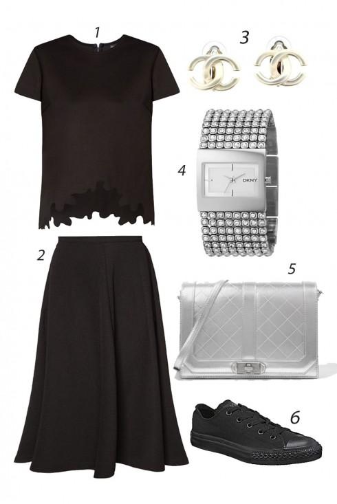 Thứ Năm cá tính thanh lịch với túi xách ánh bạc. <br/><br/> 1. SOMETHING BORROWED 2. NEW LOOK 3. CHANEL 4. DKNY 5. CHARLES & KEITH 6. CONVERSE