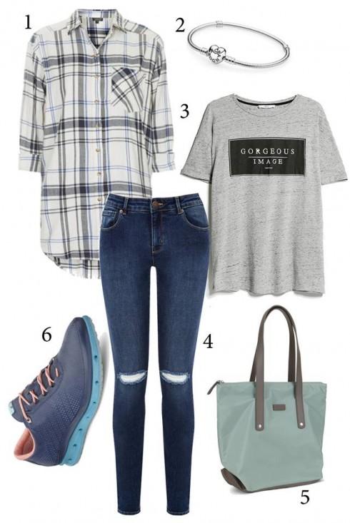 Thứ 2: Năng động với áo thun nữ thời trang kết hợp với quần jeans và áo kẻ sọc.<br/>1. TOPSHOP 2. PANDORA 3. MANGO 4. ECCO 5. ECCO 6. WAREHOUSE
