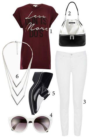 Thứ 3: Bạn có thể phối quần jeans skinny cùng áo thun dáng dài<br/>1. RIVER ISLAND 2. CHARLES &amp; KEITH 3. KAREN MILLEN 4. STEVE MADDEN 5. PEDRO 6. MANGO