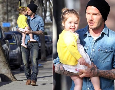 David Beckham và con gái, bé Harper