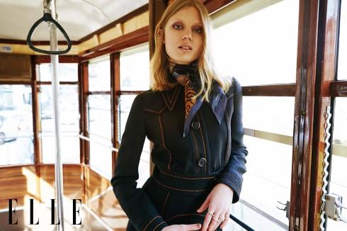 Áo khoác và chân váy Prada, Khăn lụa Gucci