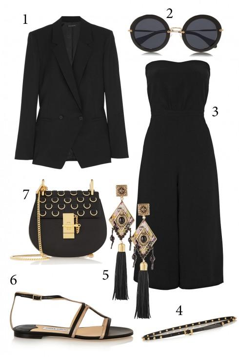 Thứ 7: Bộ đồ jumpsuit màu đen với điểm nhấn ánh vàng kim loại thanh lịch và vo cùng nổi bật<br/>1. THEORY 2. MIUMIU 3. ELIZABETH AND JAMES 4. MIUMIU 5. ETRO 6. JIMMY CHOO 7. CHLÓE