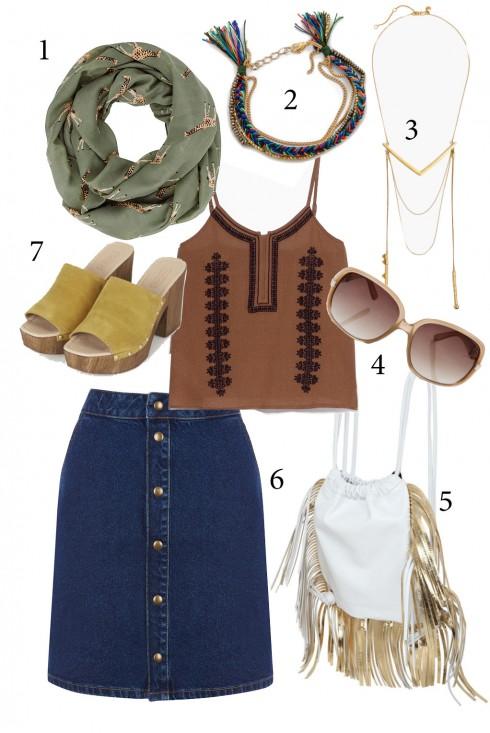 Thứ 3: Cá tính với chân váy denim kết hợp cùng áo hai dây và khăn cổ<br/>1. ACCESSORIZE 2. SASHI 3. MADEWELL 4. OASIS 5. SARA BATTAGLIA 6. WAREHOUSE 7. TOPSHOP