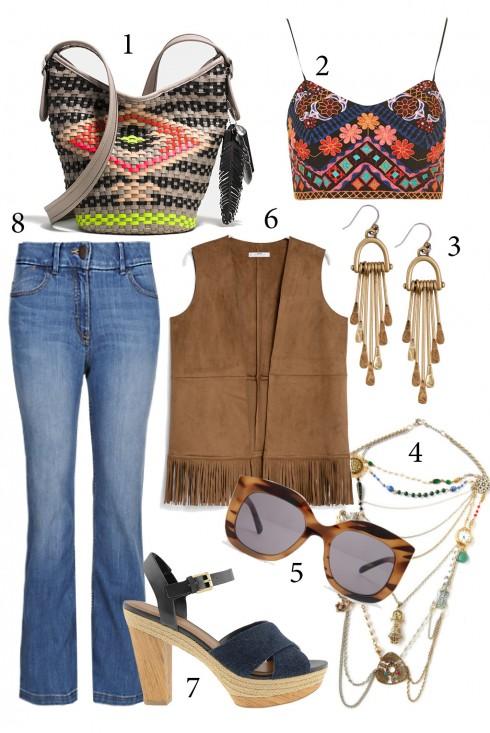 Thứ 2: Phong cách với quần jeans ống loe cùng áo crop top<br/>1. COACH 2. TOPSHOP 3. ASOS 4. MARIA ZURETA 5. ASOS 6. MANGO 7. CHARLES & KEITH 8. MARKS & SPENCER