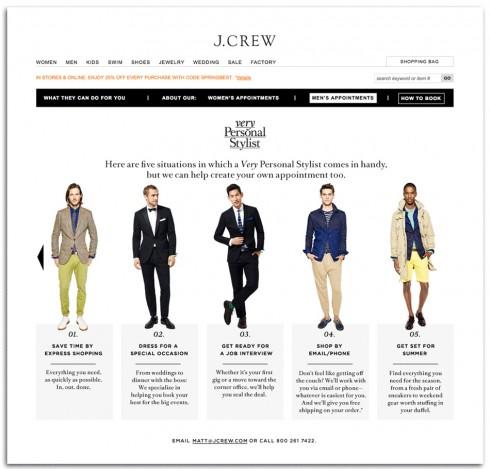 Khách hàng có thể đặt chỗ và hẹn trước với Personal Shopper của J.Crew tại trang web của cửa hàng