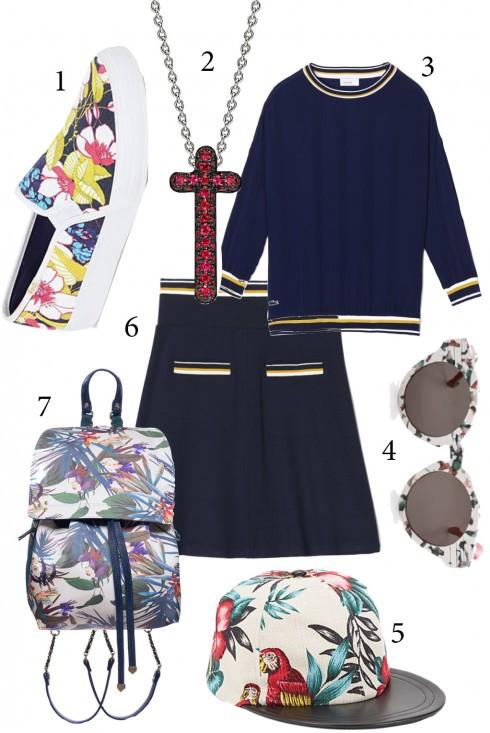 Thứ 4: Kết hợp quần áo trơn màu với phụ kiện hoa  nổi bật<br/>1. OASIS 2. CARA 3. LACOSTE 4. PREEN 5. EUGENIA KIM 6. LACOSTE 7. JEROME DREYFUSS