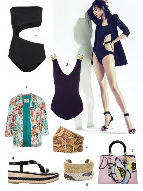 Người mẫu: Áo bơi, blazer, giày Versace. Hoa tai Jennifer Fisher. 1.Stella McCartney 2.Eres 3.Etro 4.Dior 5.Bally 6.Salvatore Ferragamo 7.Dior