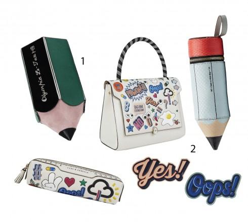 1.Clutch cầm tay của Olympia Le-Tan 2.Túi xách, bóp viết, móc túi xách và sticker của Anya Hindmarch