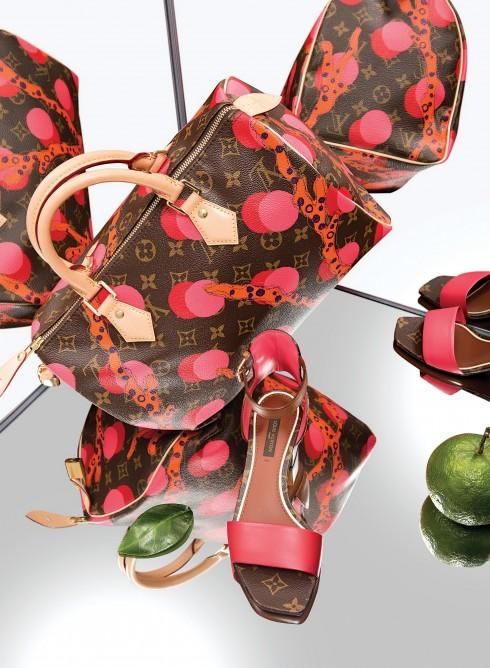Túi xách Speedy và giày sandals Louis Vuitton