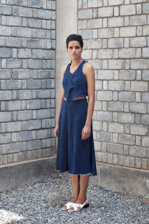 Kediya Khadi Denim Vest & Khadi Denim Skirt