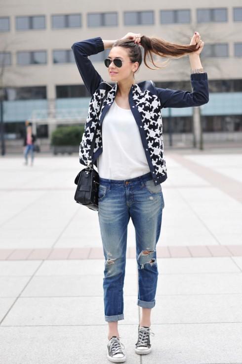 printed jackets - denim - boyfriend jeans
