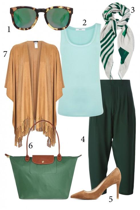 Thứ 6: Thanh lịch với quần vải và giày cao gót<br/>1. WILDFOX 2. OASIS 3. BOTTEGA VENETA 4. MARNI 5. MANGO 6. LONGCHAMP