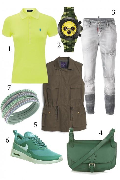 Chủ nhật: Thư giãn với giầy thể thao cùng quần jeans<br/>1. RALPH LAUREN 2. TOY WATCH 3. DSQUARED 4. TOPSHOP 5. MANGO 6. NIKE 7. SWAROVSKI