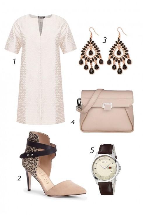 Thứ Năm áo đầm xuông duyên dáng với khuyên tai  và giày cao gót quàng cổ chân. <br/> 1. INNER CIRCLE 2. SOLE SOCIETY 3. PALM BEACH 4. CHARLES & KEITH 5. GUCCI