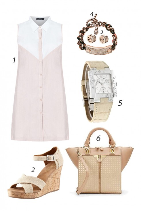 Thứ Sáu đơn giản với váy hồng phấn kết hợp phụ kiện màu nude. <br/><br/> 1. INNER CIRCLE 2. TOMS SHOES 3&4. MICHAEL KORS 5. CHRISTIAN DIOR 6. DANIELLE NICOLE