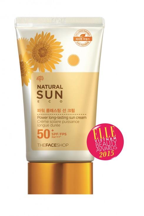 <strong>6. THE FACE SHOP NATURAL SUN ECO POWER LONG-LASTING SUN CREAM SPF50 PA+++</strong><br/>Kem chống nắng đa năng giúp bảo vệ da lâu dài dưới ánh nắng mặt trời, không trôi trong nước và mồ hôi. Bên cạnh tác dụng chống nắng, kem còn che phủ nhược điểm và cải thiện tông màu da, cho làn da tươi tỉnh tức thì nên có thể sử dụng như kem lót trang điểm. Ngoài ra, chiết xuất mầm hoa hướng dương còn giúp chống ôxy hóa và ngăn ngừa tình trạng lão hóa da.