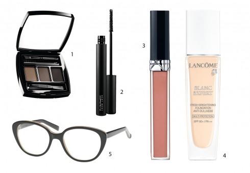 1.Phấn vẽ chân mày Chanel 2.Mascara M.A.C 3.Son nhũ Rouge Brillant Dior 4.Kem nền Lancôme 5.Mắt kính Marni