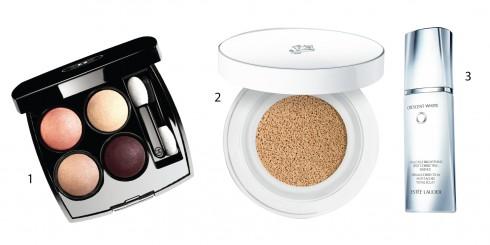 1.Bộ màu mắt Chanel 2.Kem nền Cushion Lancôme 3.Sữa dưỡng sáng da Crescent White Esteé Lauder