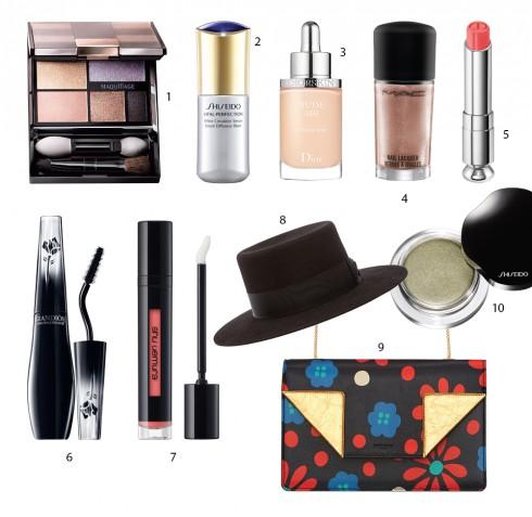1.Bộ màu mắt maquillage Shiseido 2.Tinh chất dưỡng sáng da Shiseido 3.Kem nền dạng nước Dior 4.Sơn móng tay M.A.C 5.Son môi hai màu Dior 6.Mascara Grandiôse Lancôme 7.Son Laque Supreme Shu Uemura 8.Nón Saint Laurent 9.Túi Saint Laurent 10.Màu mắt dạng kem Shiseido