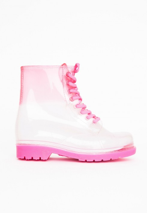 Bốt Missguided<br/>Missguided Kanyetta Pink Lace Up Wellies