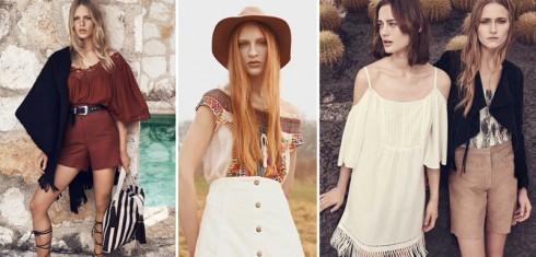 Từ trái qua: H&M, Topshop, Warehouse cũng tung ra nhiều mẫu trễ vai phong cách bohemian phóng khoáng