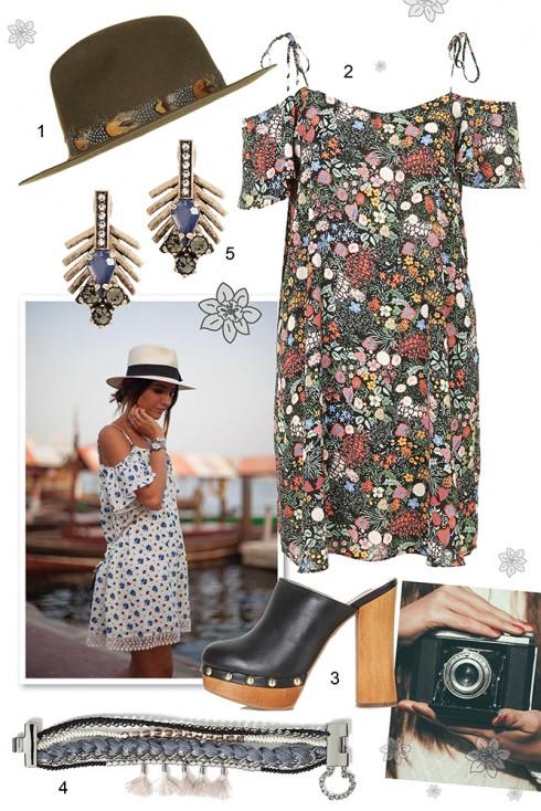 Thứ năm: Nữ tính với váy hai dây trễ vai họa tiết hoa. <br /><br /> 1. TOPSHOP 2. TOPSHOP 3. TOPSHOP 4. BANANA REPUBLIC 5. BANANA REPUBLIC