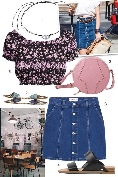Thứ sáu: Không thể bỏ qua xu hướng 1970s đang được yêu váy jeans chữ A với hàng cúc đặc trưng. <br /><br /> 1. TOPSHOP  2.FURLA 3. MANGO 4. CHARLES &amp; KEITH 5. ACCESSORIZE 6. H&amp;M