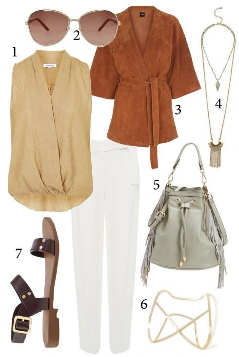 Thứ 2: Phong cách với áo kimono kết hơp cùng túi xách tua rua<br/>1. TOPSHOP 2. WAREHOUSE 3. OASIS 4. BANANA REPUBLIC 5. NINEWEST 6. COAST 7. CHARLES & KEITH