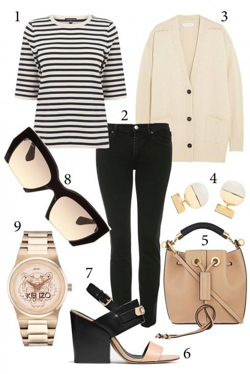 Thứ3: Năng động với quần jeans ôm và áo khoác len mỏng<br/>1. WAREHOUSE 2. TOPSHOP 3. ISABEL MARANT 4. BANANA REPUBLIC 5. CHLOE 6. COACH 8. MIUMIU 9. KENZO