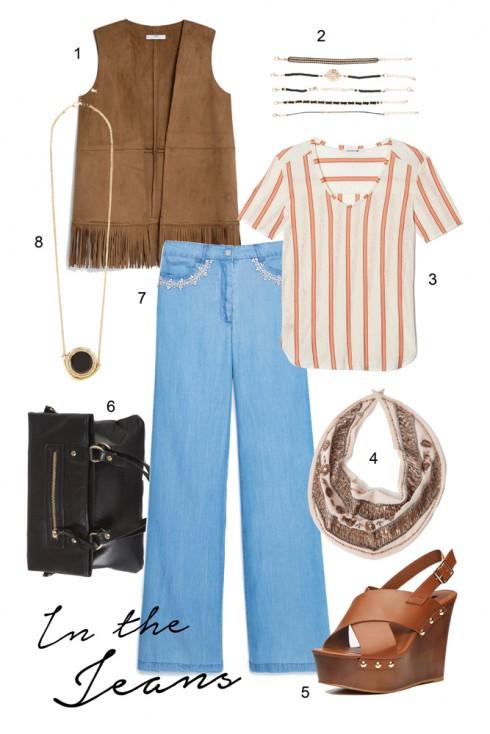 Thứ 5: Tạm quên những chiếc quần jeans skinny để thử thách mình với những mẫu quần jeans suôn rộng </br> </br> 1. MANGO 2. WAREHOUSE 3. LACOSTE 4. WAREHOUSE 5. FOREVER21 6. WAREHOUSE 7. MANGO 8. WAREHOUSE
