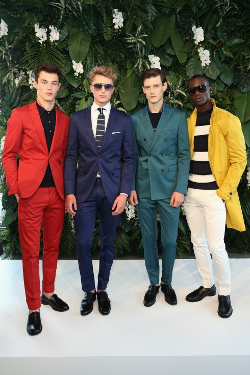 <br/>NEW YORK, NY - JULY 15:  Models pose on the runway at the Tommy Hilfiger Spring 2016 Men's Tailored Collection presentation on July 15, 2015 in New York City.  (Photo by Neilson Barnard/Getty Images Tommy HIlfiger)