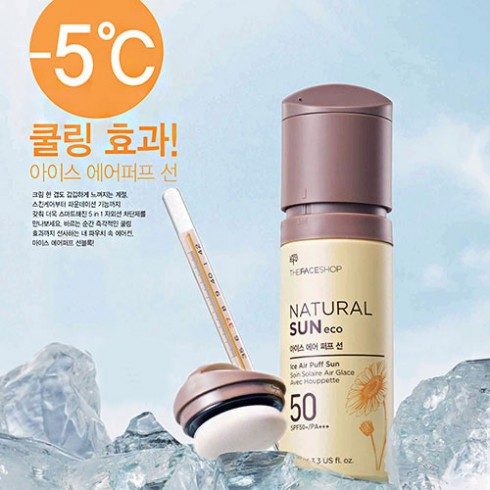 kem chong nang cua hang nao tot The Face Shop Natural Sun Eco Ice Air Puff Sun
