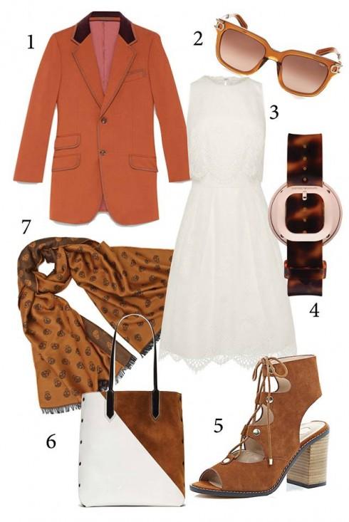 Thứ 5: Nữ tính với đầm xòe cùng áo khoác<br/>1. GUCCI 2. CHLOE 3. COAST 4. EMPORIO ARMANI 5. RIVER ISLAND 6. ELIZABETH &amp; JAMES 7. ALEXANDER MC QUEEN