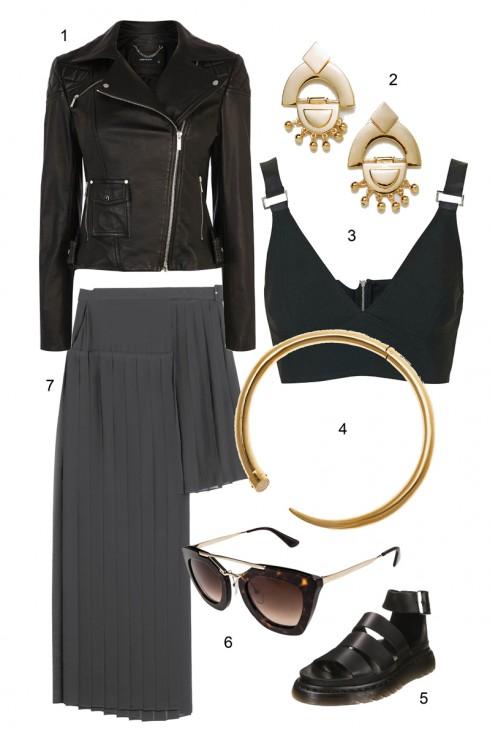 Cực ngầu với váy đen bất đối xứng và áo khoác da</br></br> 1. KAREN MILLEN 2. ZARA . TOPSHOP 4. MICHAEL KORS 5. PRADA 6. DR MARTENS 7. MCQ BY ALEXANDER MCQUEEN