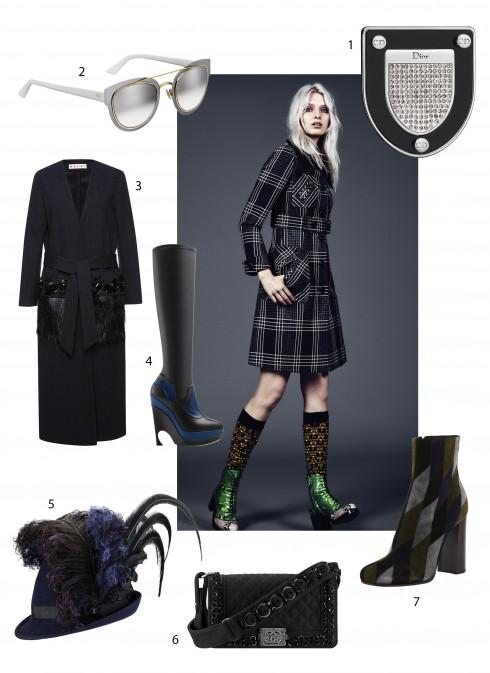 Người mẫu: Áo khoác, tất và bốt Miu Miu, Hoa tai bạc Vanessa Lianne. 1.Dior 2.Dior 3.Marni 4.Prada 5.Chanel 6.Chanel 7.Dior
