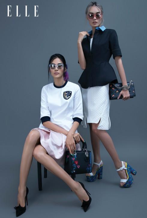 Trang phục, túi xách Dior, Kính mát Burberry, Giày Christian Louboutin
