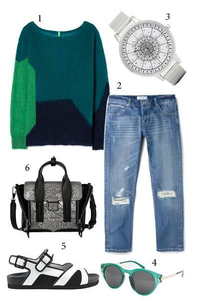 Chủ nhật: Cuối tuần thoải mái với quần jeans rách<br/>1. BENNETON OF COLOUR 2. MANGO 3. ASOS 4. AJ MORGAN 5. CHARLES & KEITH 6. PHILLIP LIM