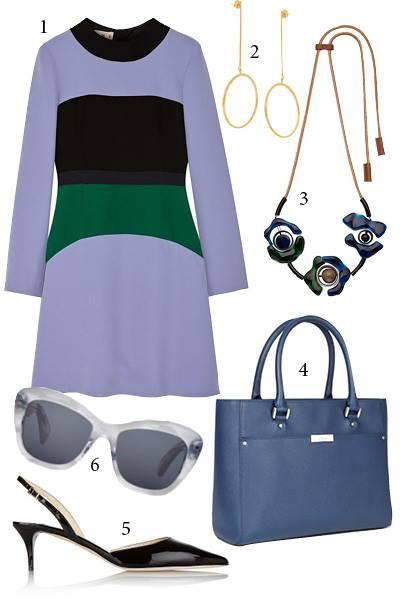 Cách đơn giản hơn là bạn chọn những chiếc váy được phối hợp nhiều mảng màu sắc khác nhau. Như vậy, bạn sẽ tiết kiệm được rất nhiều thời gian trong việc lựa chọn trang phục.<br/>1. MARNI 2. STELLA MC CARTNEY 3. MARNI 4. ECCO 5. JIMMY CHOO 6. OLIVER PEOPLES