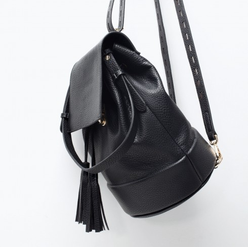 4. Leather Bucket Backpack - Zara