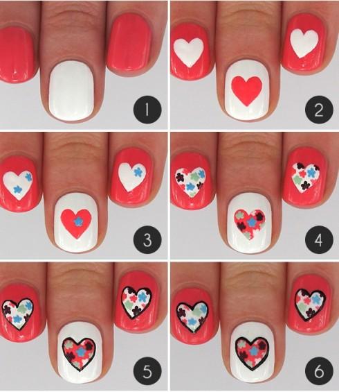 Đỏ - trắng kết hợp hình vẽ trái tim ngọt ngào sẽ là gợi ý sơn móng tay đẹp cho buổi hẹn hò của bạn.