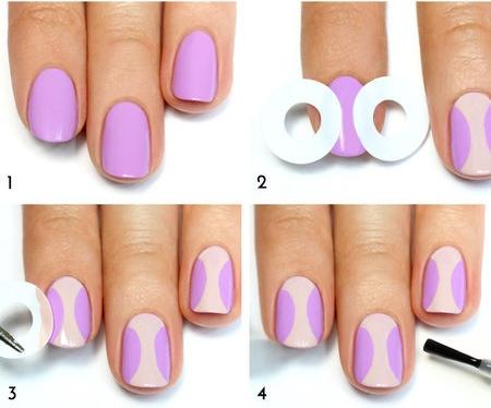 Hồng nhẹ và tím pastel có thể dễ dàng kết hợp với nhau mà vẫn tạo ra sự hài hòa trên đôi bàn tay.