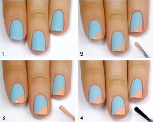 Hồng nhẹ và xanh dương có thể dễ dàng kết hợp với nhau mà vẫn tạo ra sự hài hòa trên đôi bàn tay.