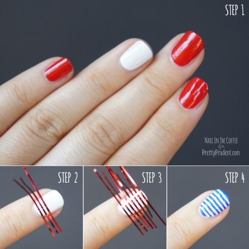 Gợi ý cách sơn móng đẹp với những sợi băng keo chỉ để tạo ra màu móng sọc hoàn hảo.