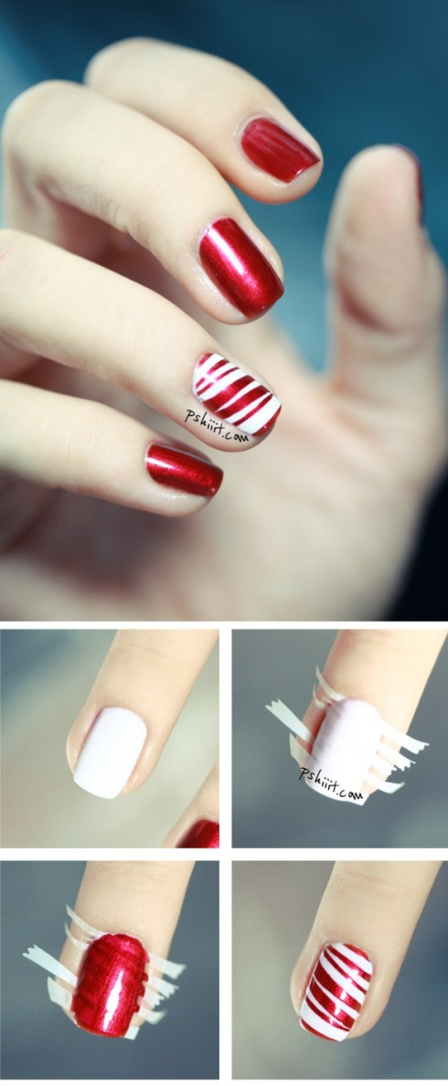 Vẫn là cách sử dụng băng keo cho bộ móng tay đỏ thêm nổi bật.