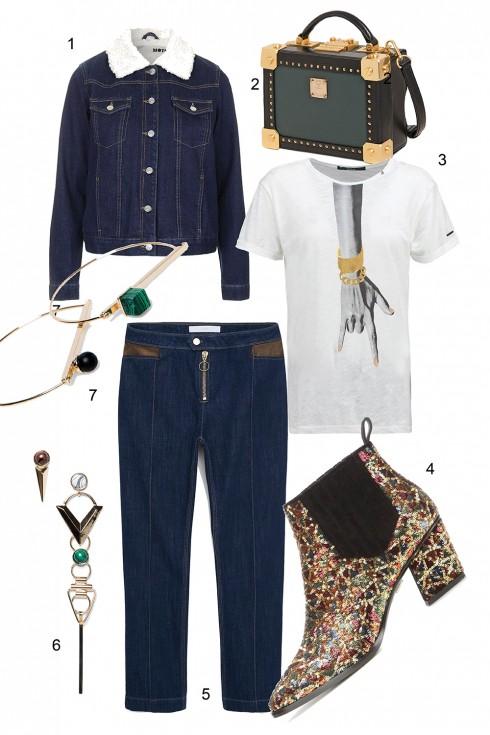 Thứ 4: Không thể bỏ quên cặp đôi quần và áo khoác jeans </br> </br> 1. TOPSHOP 2. MCM 3. REPLAY 4. ROGER VIVIER 5. MANGO 6. MANGO 7. MANGO