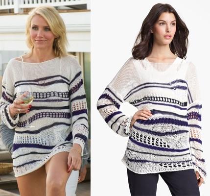 Đầy gợi cảm với áo sweater dệt len sợi, họa tiết sọc ngang màu xanh navi - trắng, tay dài của Jean Paul Gaultier